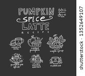 pumpkin spice latte recipe card ... | Shutterstock .eps vector #1352649107