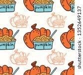 pumpkin and pumpkin puree in a... | Shutterstock .eps vector #1352649137