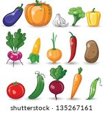 cartoon vegetables and fruits | Shutterstock .eps vector #135267161