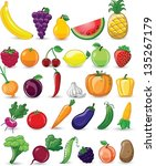 cartoon vegetables and fruits | Shutterstock .eps vector #135267179