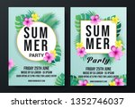 summer party flyer template | Shutterstock .eps vector #1352746037