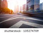 the light trails on the modern... | Shutterstock . vector #135274709