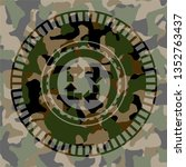 recycle icon on camouflage... | Shutterstock .eps vector #1352763437