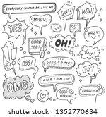 set of cute speech bubble in... | Shutterstock .eps vector #1352770634