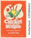 retro style cricket league... | Shutterstock .eps vector #1352806601