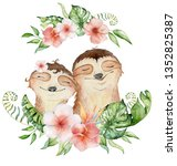watercolor slothbears. couple... | Shutterstock . vector #1352825387