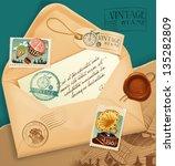 vintage envelope with postage... | Shutterstock .eps vector #135282809