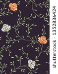 vector pattern with flower  on... | Shutterstock .eps vector #1352836424