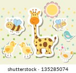 Stock vector set of vintage elements for greeting card vector eps 135285074