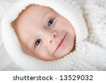 baby white hood knitted top | Shutterstock . vector #13529032