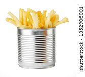 fried potato in metal can | Shutterstock . vector #1352905001