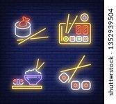 sushi rolls and chopsticks neon ... | Shutterstock .eps vector #1352939504