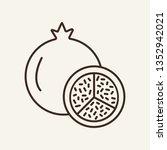 pomegranate line icon. vitamin  ... | Shutterstock .eps vector #1352942021