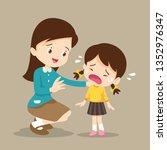 teacher comforting upset... | Shutterstock .eps vector #1352976347