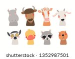 big set of cute funny animals... | Shutterstock .eps vector #1352987501