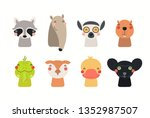 big set of cute funny animals... | Shutterstock .eps vector #1352987507