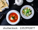 rustic vegetable soup  lunch in ... | Shutterstock . vector #1352992877