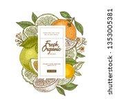 fresh citrus design template.... | Shutterstock .eps vector #1353005381