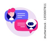 cute chat bot chatting with man ... | Shutterstock .eps vector #1353007811
