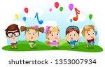 cartoon boys and girls dancing  ... | Shutterstock .eps vector #1353007934