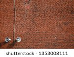 white loudspeakers on a red...   Shutterstock . vector #1353008111