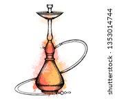 illustration of hookah with... | Shutterstock .eps vector #1353014744