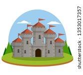 medieval castle. old fortress.... | Shutterstock .eps vector #1353017357