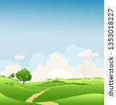 summer or spring landscape with ... | Shutterstock .eps vector #1353018227