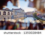ljubljanica river with old... | Shutterstock . vector #1353028484