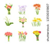 flowers composition set icons... | Shutterstock .eps vector #1353035807