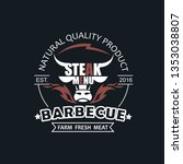 barbecue grill emblem for... | Shutterstock .eps vector #1353038807