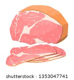 smoked ham isolated. piece of... | Shutterstock .eps vector #1353047741