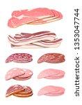 meat sausage slice set. cut... | Shutterstock .eps vector #1353047744