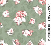 seamless paisley  and flower... | Shutterstock .eps vector #1353063914