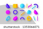 set of colorful geometric... | Shutterstock .eps vector #1353066071