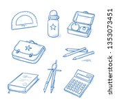 set of school objects  as book  ... | Shutterstock .eps vector #1353073451