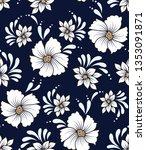 white vector flowers pattern on ... | Shutterstock .eps vector #1353091871