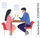 drinking wine in a bar  flat... | Shutterstock .eps vector #1353096704