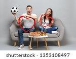 surprised couple woman man... | Shutterstock . vector #1353108497