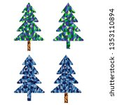 christmas tree spruce low poly... | Shutterstock .eps vector #1353110894