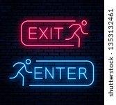 exit and enter. vector neon...   Shutterstock .eps vector #1353132461