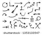 hand drawn arrows. doodle... | Shutterstock .eps vector #1353133547