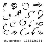 black arrows set.doodle arrows. | Shutterstock .eps vector #1353136151