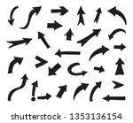 black arrows set.doodle arrows. | Shutterstock .eps vector #1353136154
