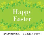 happy easter floral green... | Shutterstock . vector #1353144494