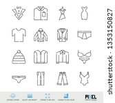 vector line icon set. clothes...