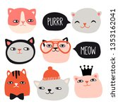 funny cats collection. pet... | Shutterstock .eps vector #1353162041