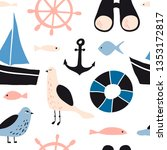 seamless pattern with nautical... | Shutterstock .eps vector #1353172817