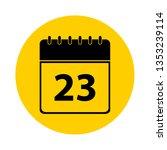 23 calendar yellow vector icon  ... | Shutterstock .eps vector #1353239114