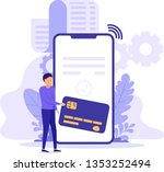 bill payment with smart phone ... | Shutterstock .eps vector #1353252494